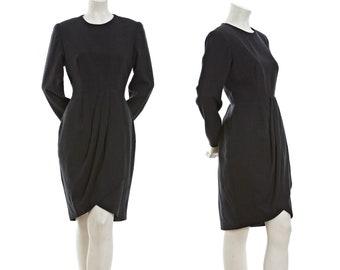 Vintage wool long sleeved dress with front pleats -- dark grey pleated dress -- retro winter dress -- size medium