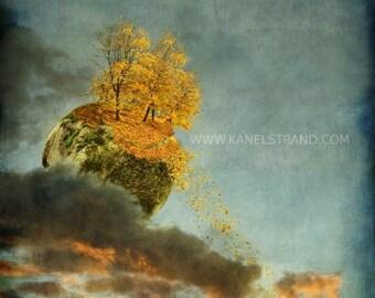 Fantasy art print, surreal photo, fall foliage, botanical print, home decor, 8x9 inches