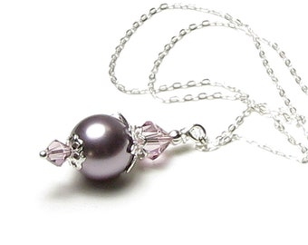 Lavender Sachet Swarovski Pearl And Light Amethyst Swarovski Crystal Sterling Silver Pendant Necklace, Lilac Wedding, Mauve Bridal Jewelry