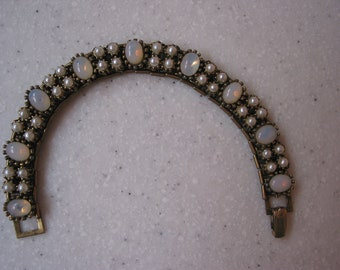 Vintage 1950 faux flash opals and pearl bracelet made in HONG KONG
