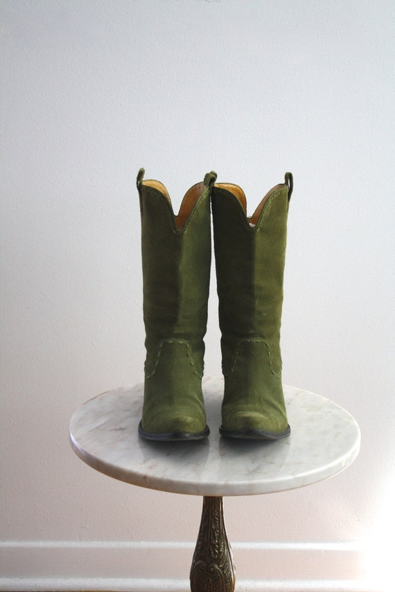 GREEN Cowboy Boots Suede Olive Leather Lined - Women's 6 - 1980s VINTAGE