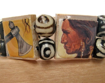 Native American Bracelet Made from Upcycled Scrabble Tiles, Shows Faces from Different Tribes