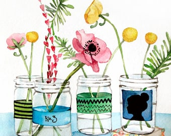 Flowers in Mason Jar Painting -  Watercolor Print