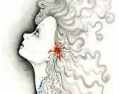 "Drawing Illustration Inspirational Art Illustration OOAK Pencil Drawing Fine Art Inspiration ""Reach for the Stars"" Original Artwork"