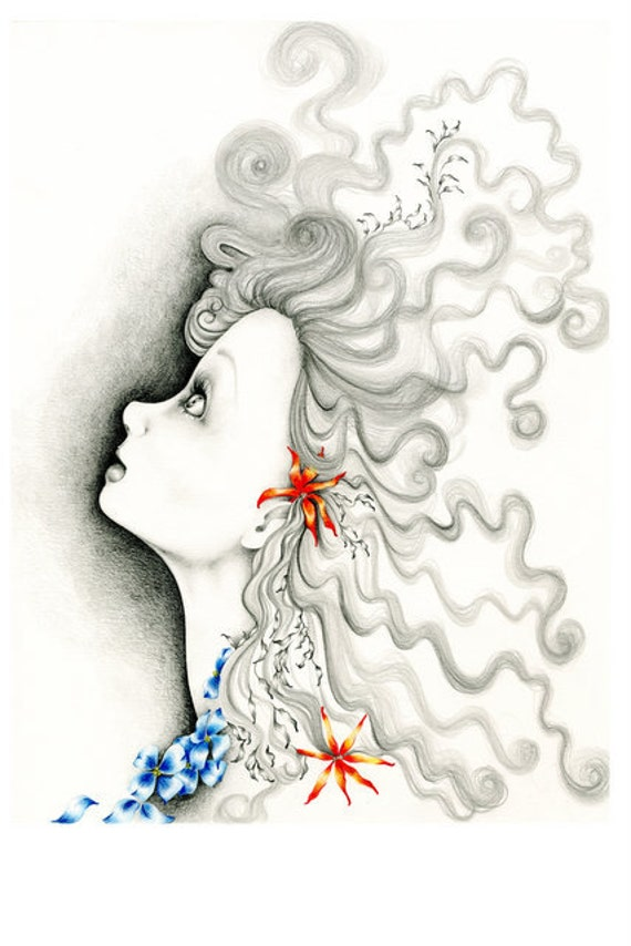 """Drawing Illustration Inspirational Art Illustration OOAK Pencil Drawing Fine Art Inspiration """"Reach for the Stars"""" Original Artwork Girl Art"""