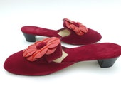 Red Velvet Slippers Kitten Heels and Vinyl Daisy Flower Accents Size 7 by Loungees Sexy Bridal Boudoir Scarlet Ruby