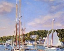 "Classic Maine Coastal scenery in this print entitled ""Summer in Camden Harbor"""