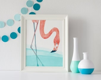 ART PRINT -  Flamingo, bird art, tropical nursery, tropical decor, teal and coral art