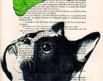 Original illustration, glicee print, poster, wall hanging, wall decor mixed media, acrylic painting: French bulldog with green pop-art bone