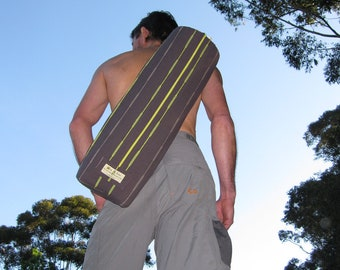 Yoga Mat Bag Lrg - UNISEX DESIGN - long zip opening - internal zip pocket - Easy To Use  - Quiet -  Pure indian cotton - Lined