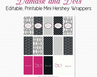 Damask Dot Mini Candy Wrappers, Bridal Shower Favors, Black and White Party Favors, Hot Pink, Candy Bar, Chocolate Bar - Editable, Printable