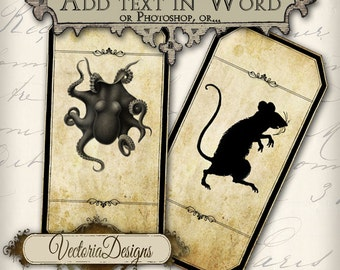Editable Blank Magic Animals Apothecary Bottle Labels Halloween Jar Labels printable images digital collage sheet 245