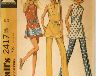 1970s McCall's 2417 Top Pants Shorts Vintage Sewing Pattern  Bust 34 UNCUT