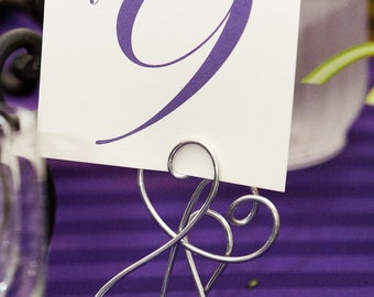 Tall Silver Table Number Holders, Intertwined Hearts, 12pcs
