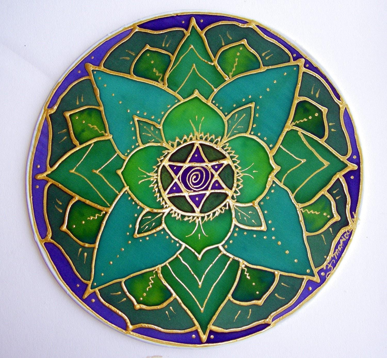 Heart Chakra Mandala green lotus mandala by HeavenOnEarthSilks