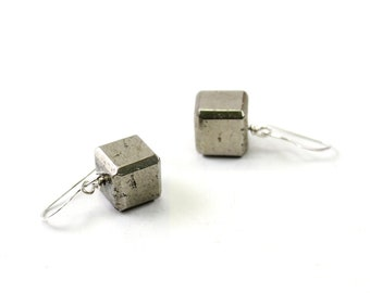 Sterling silver earrings: stone cube earrings, pyrite jewelry, natural stone pyrite earring, industrial chic pyrite cube modern jewelry