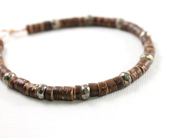 Mens bracelet: tribal wooden jewelry for men African bracelet, coconut bracelet, brown wood bracelet