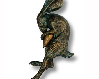 Hare & Heart Cold Cast Bronze Sculpture - Eternal by Terry Griffiths - Life Size Wall Mounted Artwork