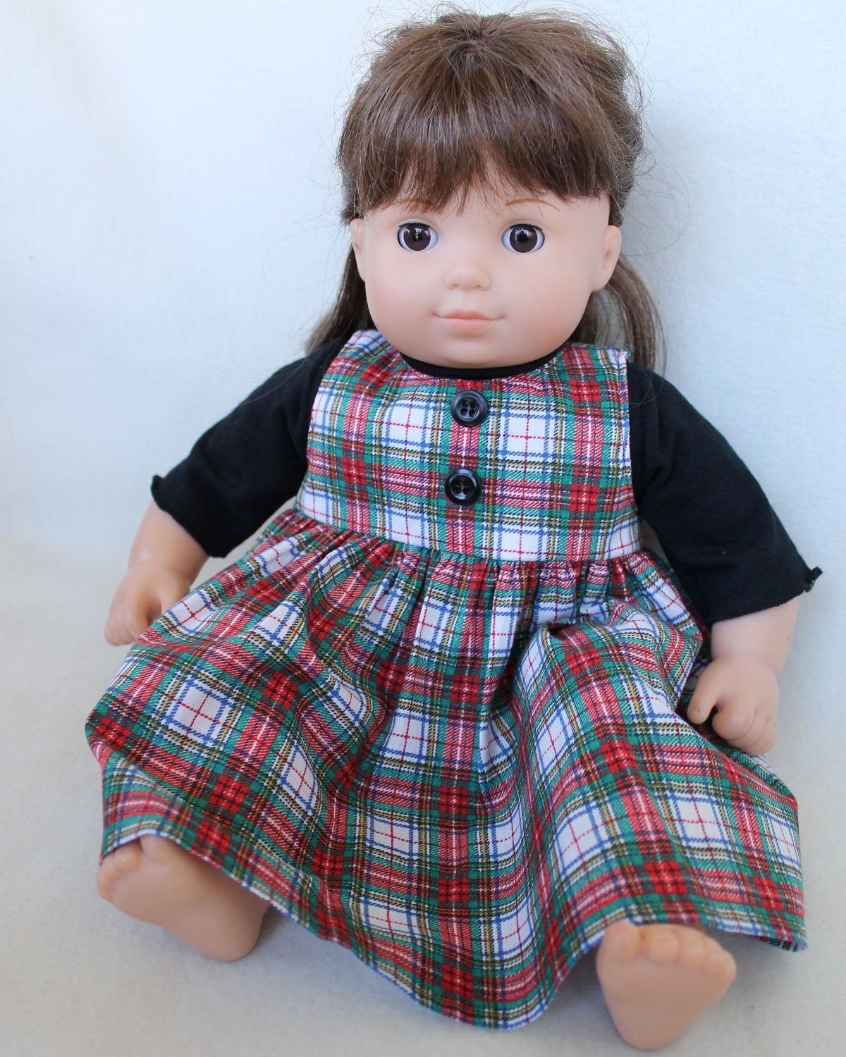 Black Knit Top with Christmas Jumper Doll Outfit Plaid Green Blue Red Black White Yellow Bitty Twin