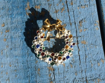 Vintage Holiday Wreath Brooch Silver Tone Multi Color Rhinestones Anne Klein