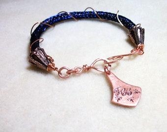 Viking Knit Bracelet in Copper & Navy Blue