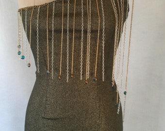 Metal Chain Fringe Dress One-Of-A-Kind Dee Rubio Design