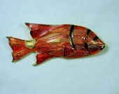 Vintage ENAMEL GOLDFiSH BROOCH Orange Enamelware Fish Pin Jewelry Gift