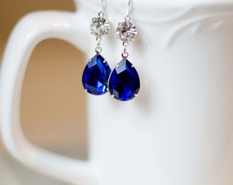 Sapphire Blue Rhinestone Earrings - Bridesmaids Jewelry Long Crystal Dangle | Jewel Earrings | Vintage Inspired | Estate Style Earrings