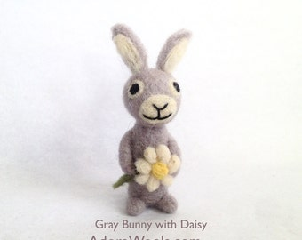 AdoraWools Love Bunny Rabbit with daisy - Velveteen rabbit - Mini Love Animal - Perfect Christmas Gift Stocking Stuffer Brown