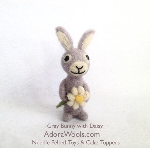 AdoraWools Love Bunny Rabbit with daisy - Velveteen rabbit - Mini Love Animal - Perfect Christmas Gift Stocking Stuffer Brown
