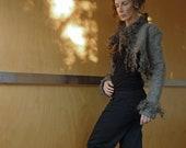 Grey short jacket / bolero / shrug, size XS, wool, natural designer clothing, eco friendly clothing, funky women's clothing, steam punk