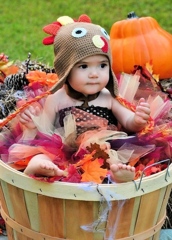 Handmade Wild Turkey Fall Harvest Color Baby and Toddler Girls Tutu Costume set Toddler Size 2T 3T 4T 5T 6