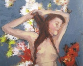 Romantic Nude Portrait of a Woman with Flowers - Giclee Print SALE