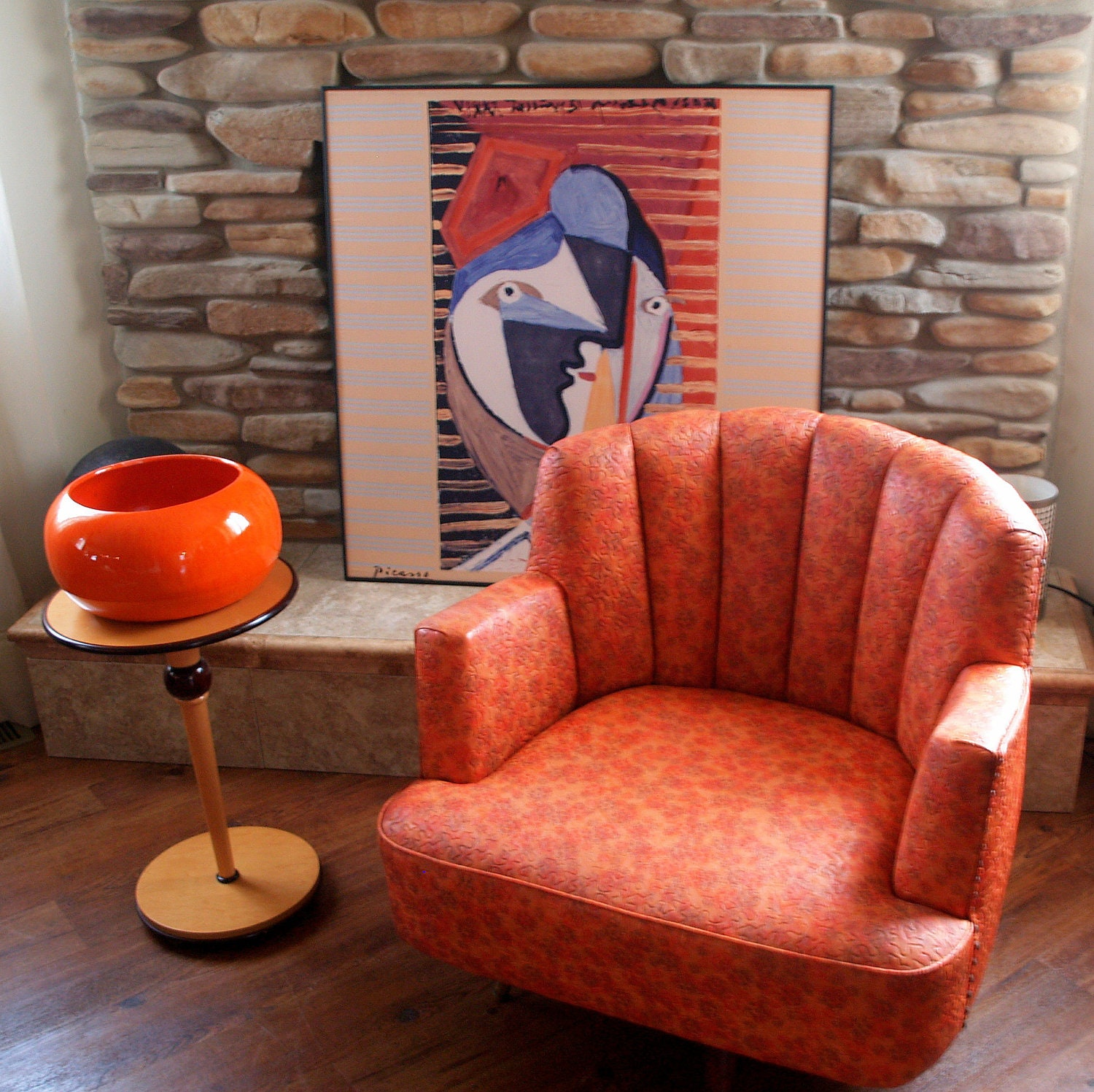 Vintage Mid Century Swivel Chair Upholsterd By
