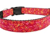 Cute Girly Dog Collar in Pink, Fuschia, Berry and Red - Pretty In Pink