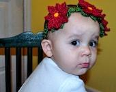 Crochet Pattern PDF - Headband / Bracelet - Poinsettia Garland Headband - Newborn to Adult Sizes - Christmas Holiday Flower Accessory