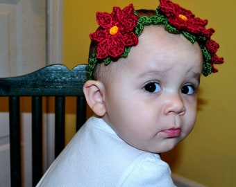 Crochet Pattern PDF - Headband / Bracelet - Poinsettia Garland Headband - Newborn to Adult Sizes - Christmas Holiday Flower Accessory