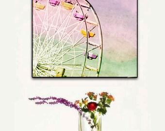 Ferris Wheel, Large Canvas Art. Large Canvas Pastel Wall Art, Santa Monica Ferris Wheel