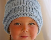 Pale Blue Beanie for Girls Boys Woman, Hand Knit Hat Baby Blue Wool, Unisex Toque Birthday or Christmas Gift Cornflower Wool Acrylic Blend