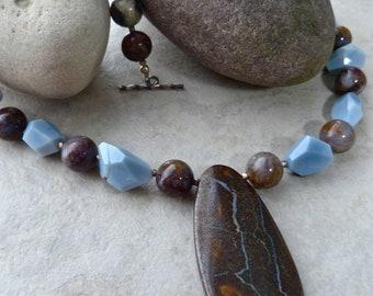 Australian Boulder Opal Pendant - Oregon Owyhee Blue Opal, Pietersite Statement Necklace - One of a Kind Artisan