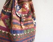 Drawstring Bag - Navajo / tribal inspired, soft napsack, geometric, print, 80s, made in India
