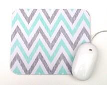 Mouse Pad / Chevron Aqua, Gray, and White / Home Office Decor / Simpatico Collection / Cloud 9 Organic