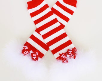 READY TO SHIP: Leg Warmers - Red and White Striped - Christmas Crush Custom Holiday Outfit Accessory - One Size - Cutie Patootie Designz