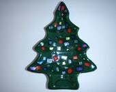 Fused glass Christmas tree dish  green and dichroic