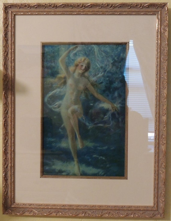 "Original 1930 Framed ""Naked Sea Nymph"" lithograph Signed Fredrick William Read FREE SHIPPING"