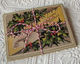 Christmas Note Cards Vintage Holly and Stripes set of 20