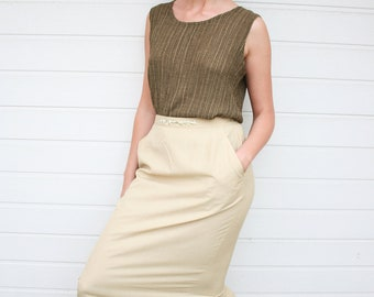 Vintage 60s Beige High Waist Midi Pencil Skirt with Embroidery