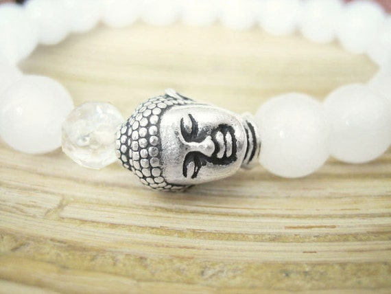 Buddha Bracelet -  White Jade Bracelet with Quartz Crystal Mala Bead and Silver Buddha Head, Boho Yoga Bracelet