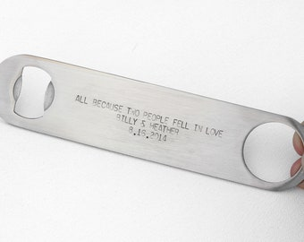 Gift Idea for a Man - Personalized Speed Bottle Opener Bartender's Opener STOCKING STUFFER