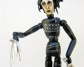 Edward Scissorhands Art Doll - Sculpture - Articulated Wooden Figure - Unusual Art - Original Pop Art - Hand painted